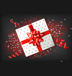 giftbox with red bow realistic confeti and vector image