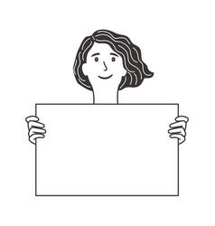 girl holds blank poster vector image