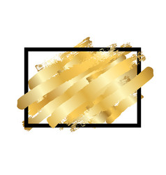 Gold brush in black square frame isolated white vector