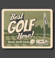 golf club green course and tee professional sport vector image