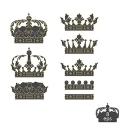 Grey crowns set vector image