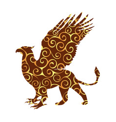 griffin pattern silhouette ancient mythology vector image