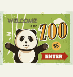Grunge retro metal sign with panda welcome to the vector