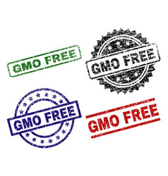 Grunge textured gmo free stamp seals vector