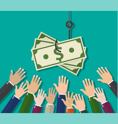 hands reaching out to get money vector image