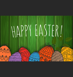 happy easter greeting card poster vector image vector image