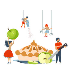 Happy family cooking together vector