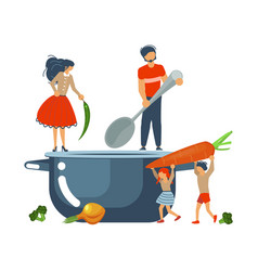happy happy family cooking together concept vector image