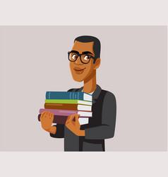 Happy professor holding textbooks vector