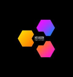 hexagon logo design gradient cube logotype vector image