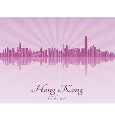 Hong Kong skyline in purple radiant orchid vector image