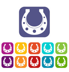 Horseshoe icons set flat vector