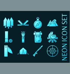 hunting set icons blue glowing neon style vector image