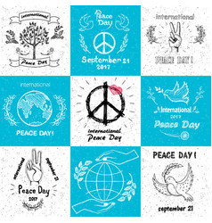 international peace day september 21 set of vector image