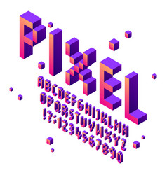 Isometric pixel art font arcade game fonts vector