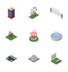 Isometric urban set of plants barricade vector