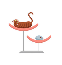 lazy brown cat lying on pet bed funny cat lies vector image