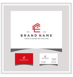 Letter ce home logo design and business card vector