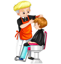 little boy getting haircut at barber vector image