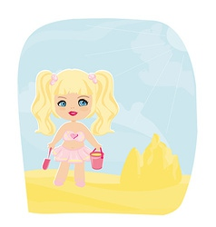 Little girl building a sand castle at the beach vector