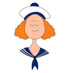 little woman sailor on white background vector image