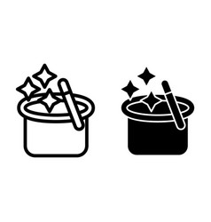 Magician s hat with a magic wand line and glyph vector