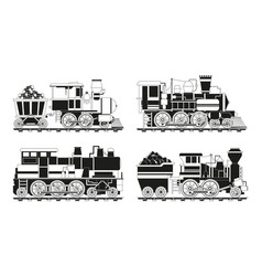 monochrome pictures of vintage trains vector image
