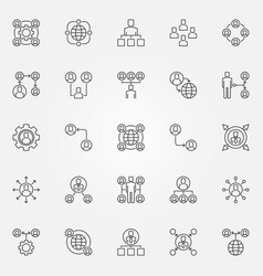 outsourcing icons set outsource outline vector image
