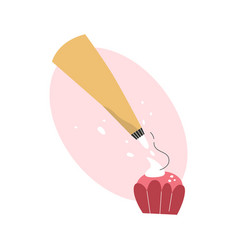 Pastry bag decorating cupcake with whipped cream vector