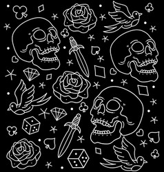pattern tattoos old school vector image
