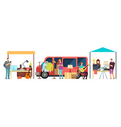People selling shopping second hand clothes vector