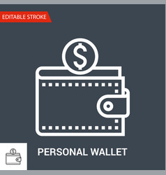 personal wallet icon thin line vector image