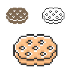 Pixel icon cookie in three variants fully vector