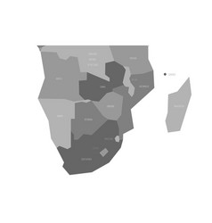 political map of southern africa region simlified vector image