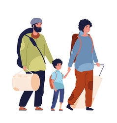 Poor family vagabonds homeless refugee woman kid vector