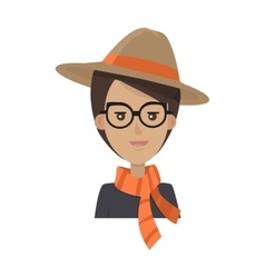 Portrait of Stylish Young Woman in Hat and Glasses vector