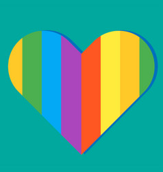 Pride month rainbow heart green background vector
