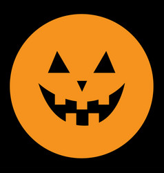 pumpkin round icon smiling face emotion trriangle vector image