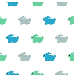 Rabbit blue green on white kid pattern vector image