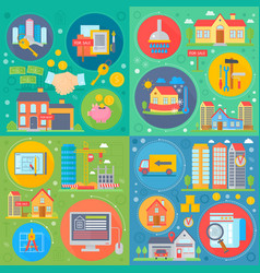 real estate square concepts set apartment buying vector image