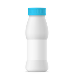realistic yogurt bottle with blue cap vector image