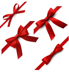 red bows with ribbons decorative party vector image