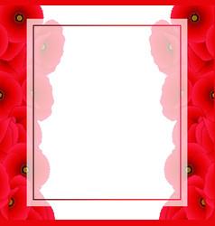 Red corn poppy banner card border vector