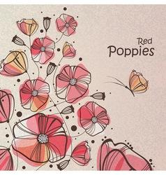 Retro red poppies vector