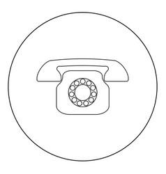 Retro telephone icon black color in circle vector