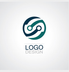 round circle technology logo vector image