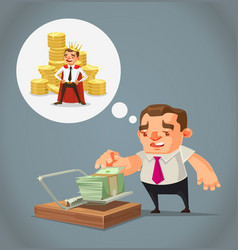 Ruined unemployed businessman character vector