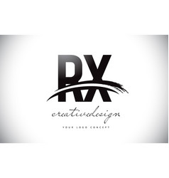 Rx r x letter logo design with swoosh and black vector