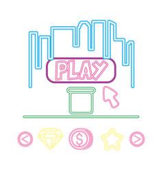 Screen play arrow neon video game vector
