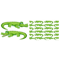 seamless background design with green crocodile vector image